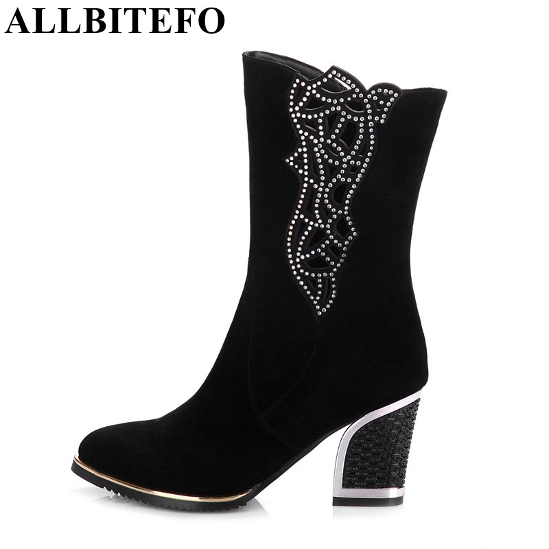 ALLBITEFO genuine leather winter snow women boots pointed toe thick heel cut-outs fashion ankle boots platform zip martin boots fashion slim rivets thick heel pointed toe zip winter snow boots genuine leather stretch fabric over the knee boots women boots