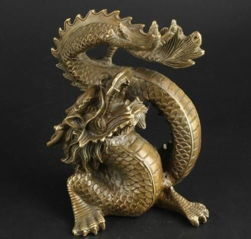 China Collectable Handmade Brass Ward Off Bad Luck Lucky Dragon StatueChina Collectable Handmade Brass Ward Off Bad Luck Lucky Dragon Statue
