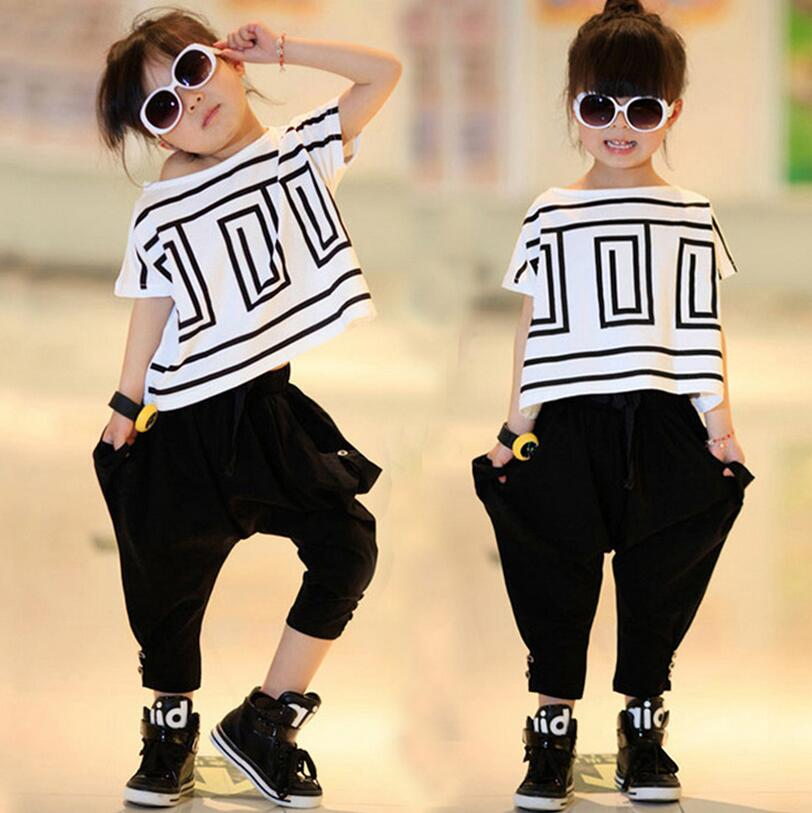Girl Sports Suit Summer New Kids Hip Hop Clothing For Teen Girls Batwing Sleeve Clothing Conjunto Menina Performance Costumes