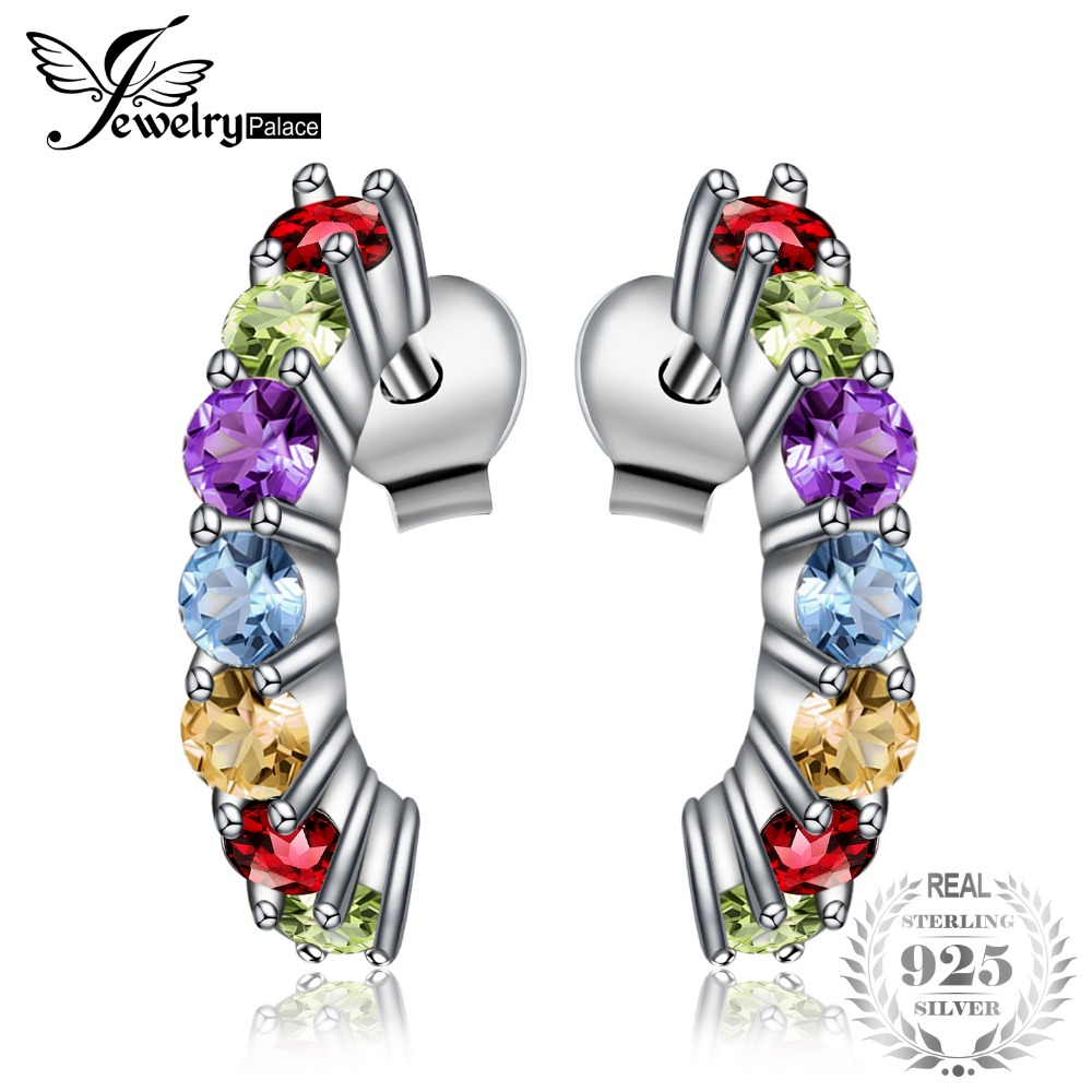 JewelryPalace Multicolor Natural Amethyst Citrine Garnet Peridot Blue Topaz Earrings Stud 925 Sterling Silver Fine Jewelry jewelrypalace halo 2 6ct swiss blue topaz stud earrings 925 sterling silver fine jewelry new earrings for women party gift