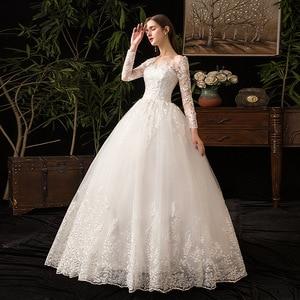 Image 3 - 2021 새로운 우아한 O 목 풀 슬리브 웨딩 드레스 환상 레이스 자 수 간단한 사용자 정의 만든 된 신부 가운 Vestido De Noiva L