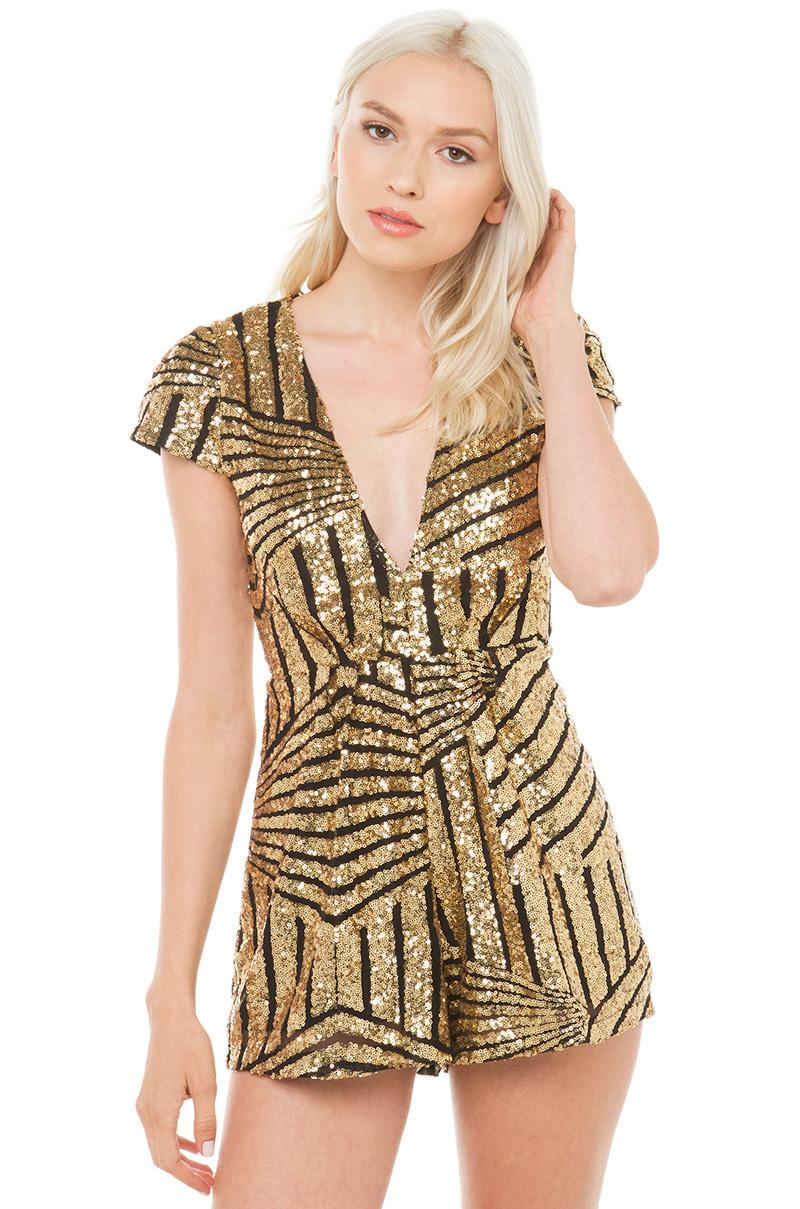 shorts Jumpsuit romper sexy party club beach casual short gold sequins female summer best selling 2018 runway