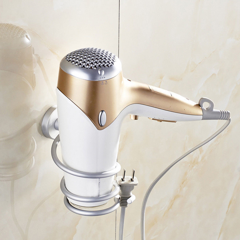 Hot Sale Aluminum Bathroom Wall Shelf Wall-mounted Hair Dryer Rack Storage Hairdryer Support Holder Spiral Stand Dropshipping