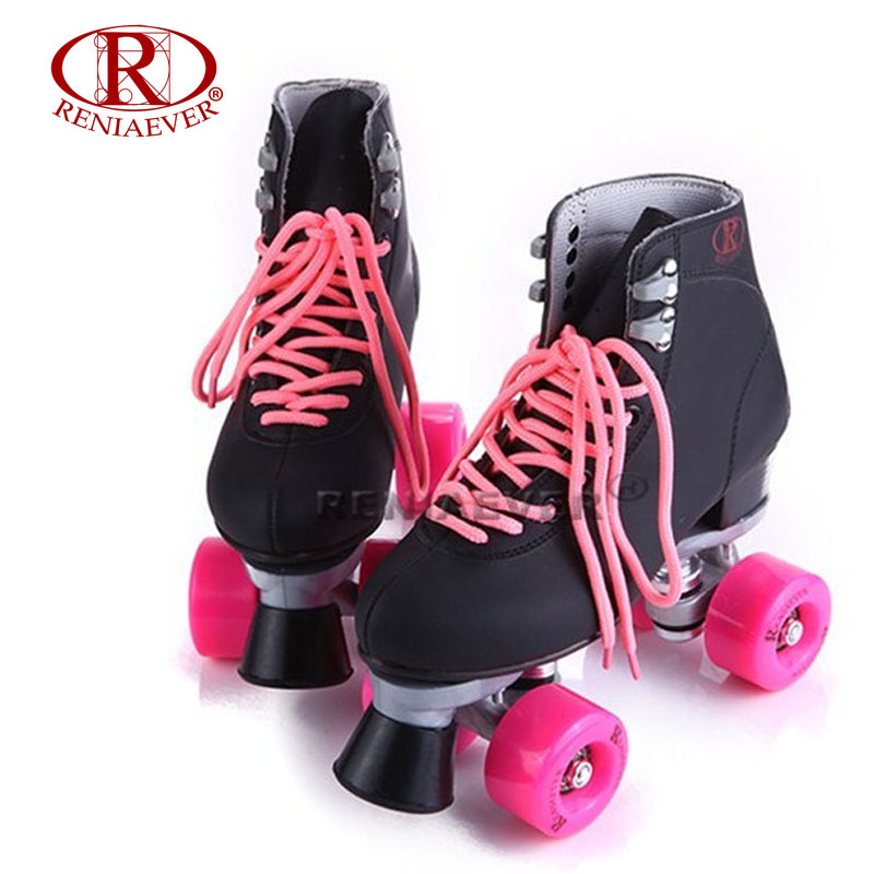 RENIAEVER Roller Skates Double Line Skates Black Women Female Lady Adult With Pink PU 4 Wheels Two line Skating Shoes Patines reniaever roller skates double line skates white women female lady adult with white pu 4 wheels two line skating shoes patines