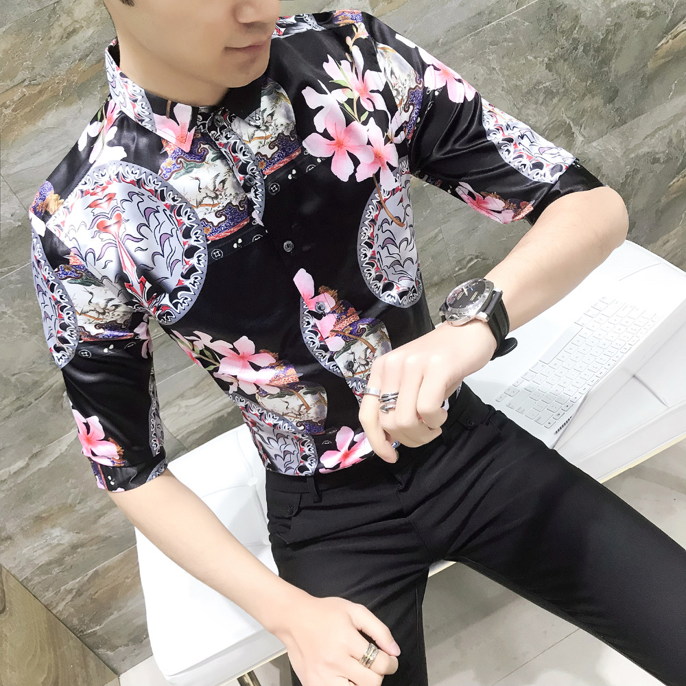 Summer New Tuxedo Shirt Men 2018 Slim Fit Half Sleeve Print Social Shirts Dress Hot Sale ...