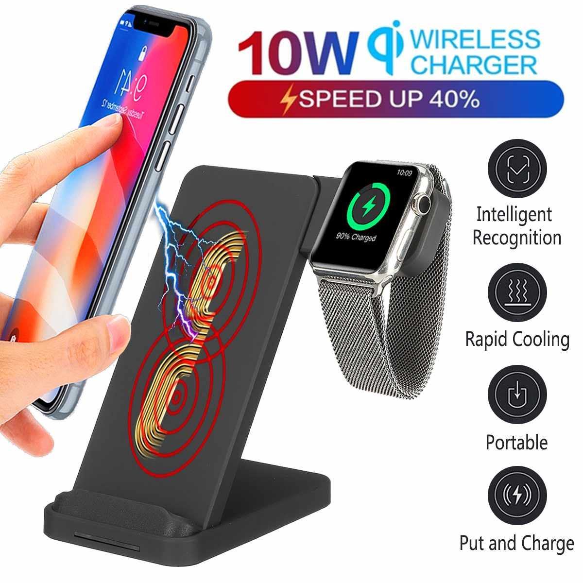 10W Qi Wireless Charger Pad Fast Charging Dock Station with Plug For iPhone XS MAX 8 for Xiaomi for Airpod For Apple Watch 4 3 2