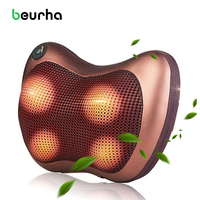 Beurha 4PCS Massage Head Neck Massager Car Home Shiatsu Neck Relaxation Waist Body Electric Massage Deep