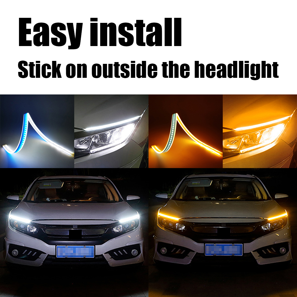 Xinfok 60cm New Slim Amber Sequential Flexible LED DRL Strip For Headlight daytime running light with yellow turn signal lamp 12V