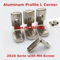 20pcs 2020 Serie Aluminum Profile T Slot 6mm L Shape Interior Corner Connectors Joint Brackets with M4 Screws
