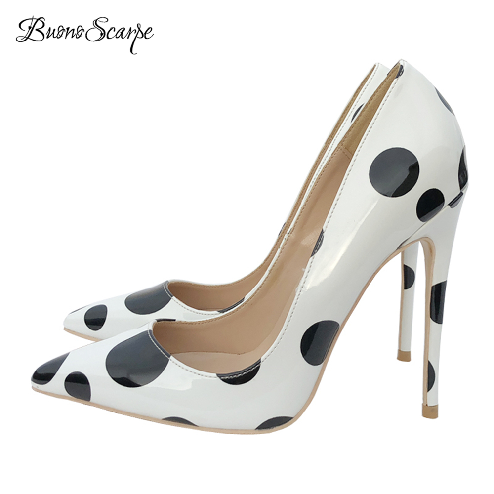 BuonoScarpe Elegant Women Shallow Mouth High Heel Pumps Black Dot 12cm High Heels Wedding Shoes Office Lady Heels Pumps Big Size morazora women patent leather pumps sexy lady high heels shoes platform shallow single elegant wedding party big size 34 43