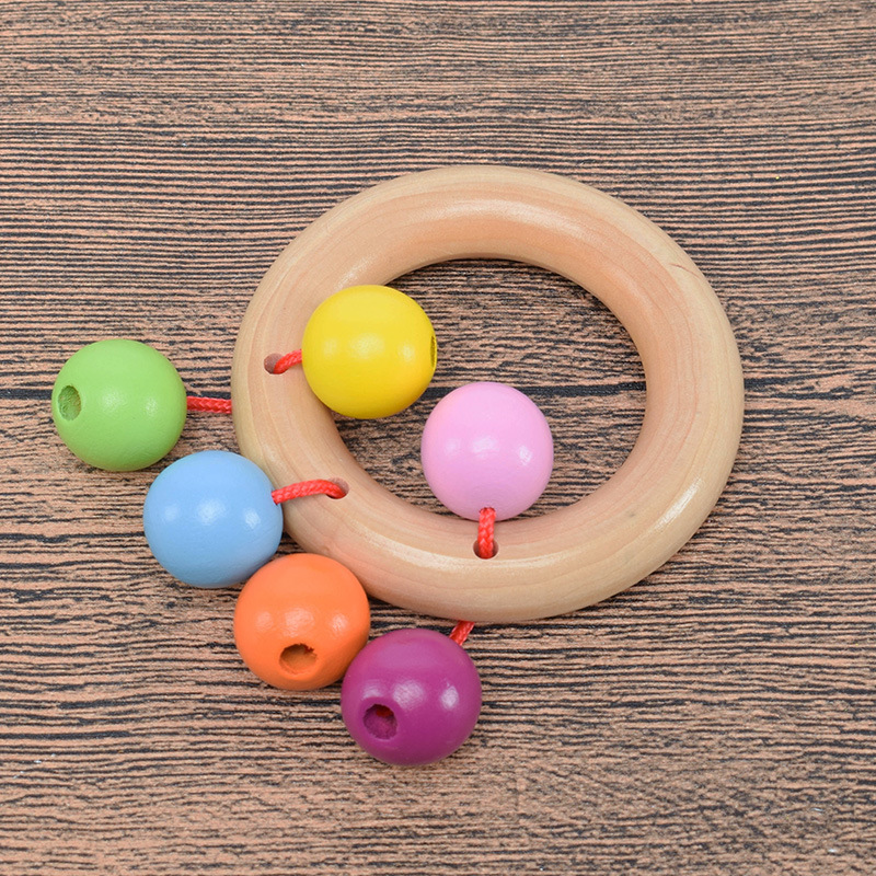 Wooden Baby Rattles Ring 0-12Month Develop Baby Intelligence Early Educational Toys For Kids Boys Children