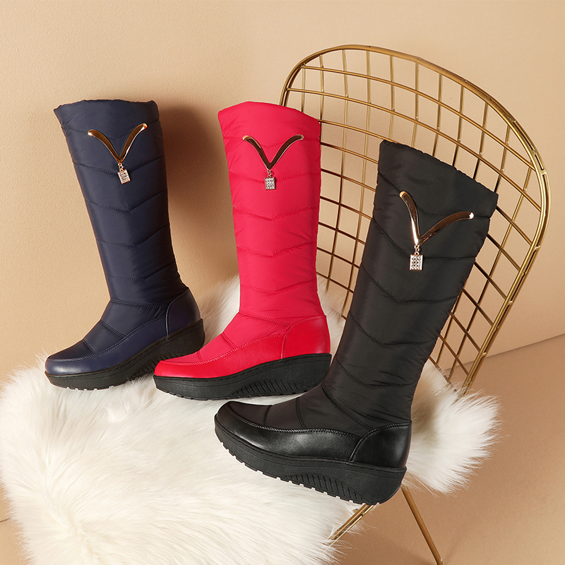 Image 4 - MORAZORA 2020 Snow Boots Women Winter Warm Platform Shoes fashion Metal decoration Waterproof non slip wedges Knee High boots-in Knee-High Boots from Shoes