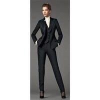 Куртка + Брюки для девочек + черный жилет Бизнес Для женщин Дизайн Блейзер Костюмы офисные Для женщин форма 3 предмета зимний костюм Формальн