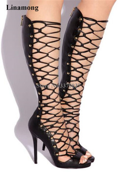 Summer New Fashion Women Open Toe Strap Cross Knee High Rivet Gladiator Boots Cut-out Cage High Heel Long Boots Dress Shoes