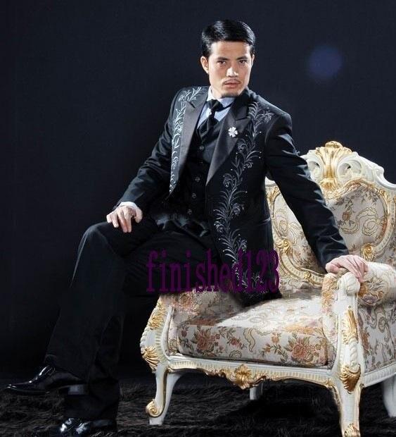 Custom Design branco preto bordado noivo smoking dos homens padrinhos de casamento ternos Prom noivo ( Jacket + Pants + Vest + Tie ) NO : 602