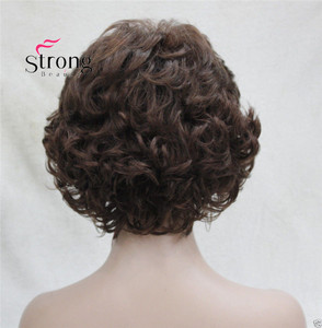 Image 5 - Short Curly Dark Auburn Synthetic Hair Full wig Womens Thick Wigs For Everyday