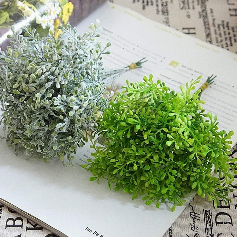 Simulation flower green plant plastic 6 branches pomelo