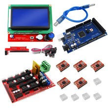 цена на 1pcs Mega 2560 R3 + 1pcs RAMPS 1.4 Controller + 5pcs A4988 Stepper Driver Module +1pcs 12864 controller for 3D Printer kit