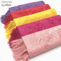 NEW fashion long tassel hijab scarf embroider flower design soft women scarves shawls plain wrap soft islamic hijabs 10pcs/lot