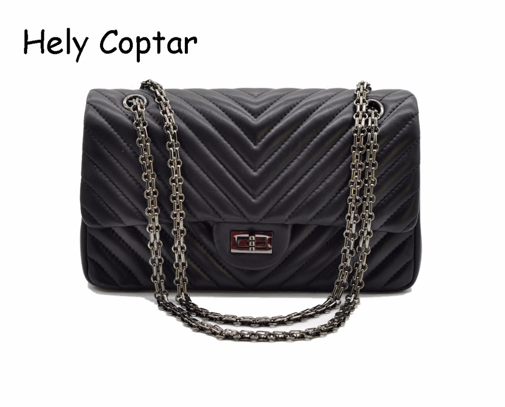 [Hely Coptar]100% Genuine Leather Women Bags Black Retro Classic Chervon Flap Chain Bag Shoulder Sheepskin Handbag 25cm Bag luxury brand chains double flap bag 100% genuine leather sheepskin women classic shoulder bag handbag totes red black beige pink