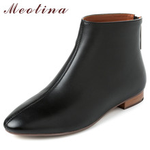 Купить с кэшбэком Meotina Autumn Chelsea Boots Women Natural Genuine Leather Flat Ankle Boots Cow Leather Zipper Short Shoes Lady Winter Size 41
