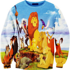coulhunt 2017 THE LION KING Print Hoody Tops Simba Novelty Pullover Fashion Women 3D Cartoon Animal Print outwear Sweatshirt