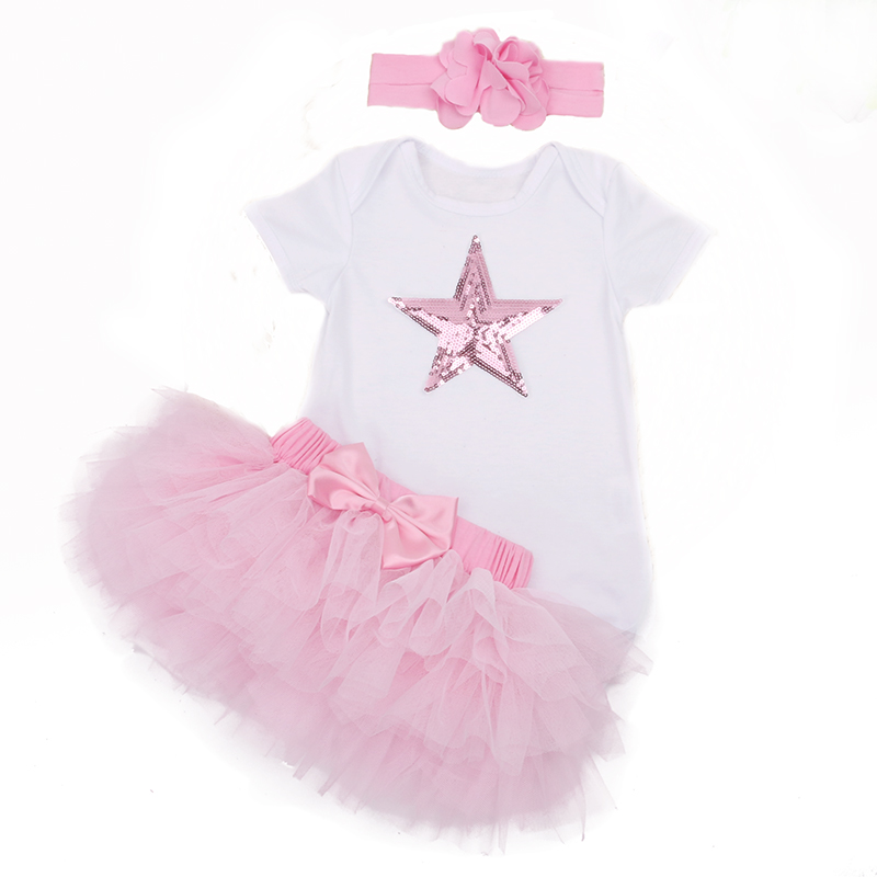 Retail New Girls Baby Clothing Children Wear Short Sleeve Pink Blue Star Baby Rompers Tutu Skirt Summer Kids Clothes Suits Bebes
