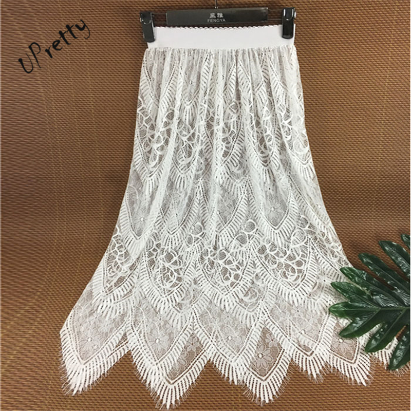 Women Sexy See Through Lace Skirt Spring Summer Vintage Casual High Waist Elastic Floral Hollow Out A-Line Transparent Skirt 127