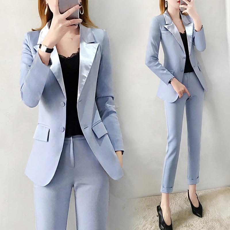 2019 las nuevas mujeres azul chaqueta pantalones trajes de Moda de Primavera de traje de corte Slim y lápiz pantalones de dos piezas de la Oficina señora profesional traje de