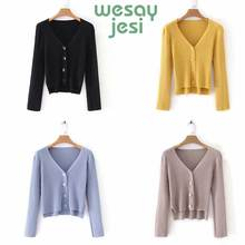 Sweater women Winter knitted sweater cardigan Women elegant  2019 autumn Female V collar outwear 5 color