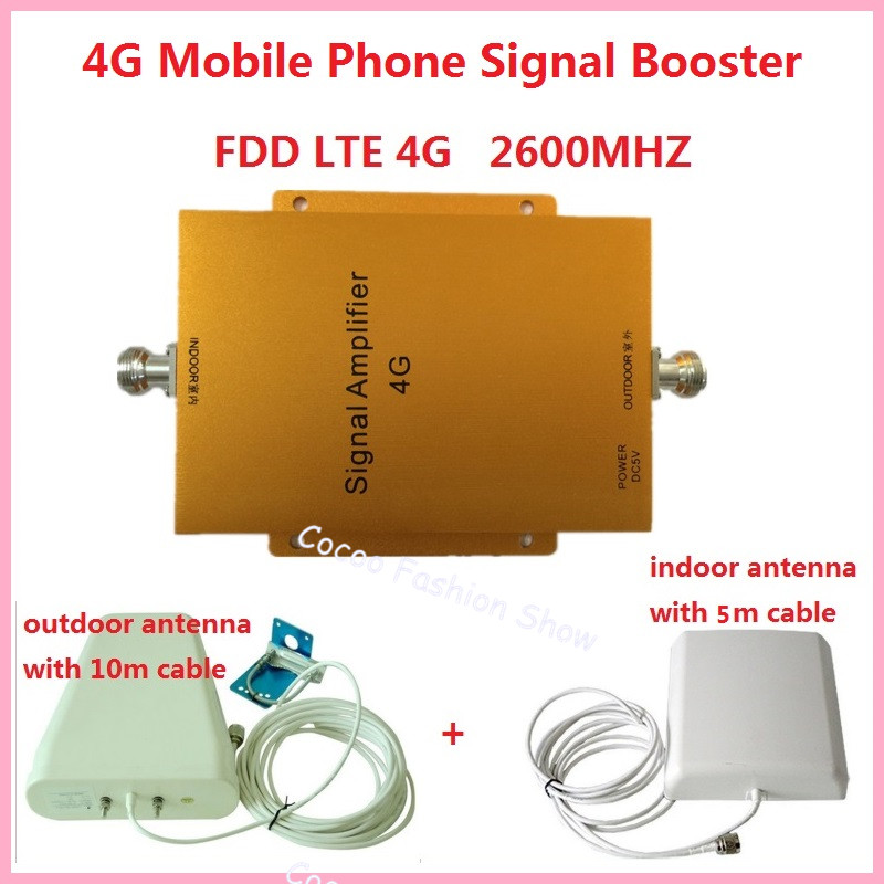 Lintratek ! Gain 65dB Mobile Signal Booster Repeater 4G LET 2600mhz Cell Phone Amplifier LTE Phone Signal Extender Full sets
