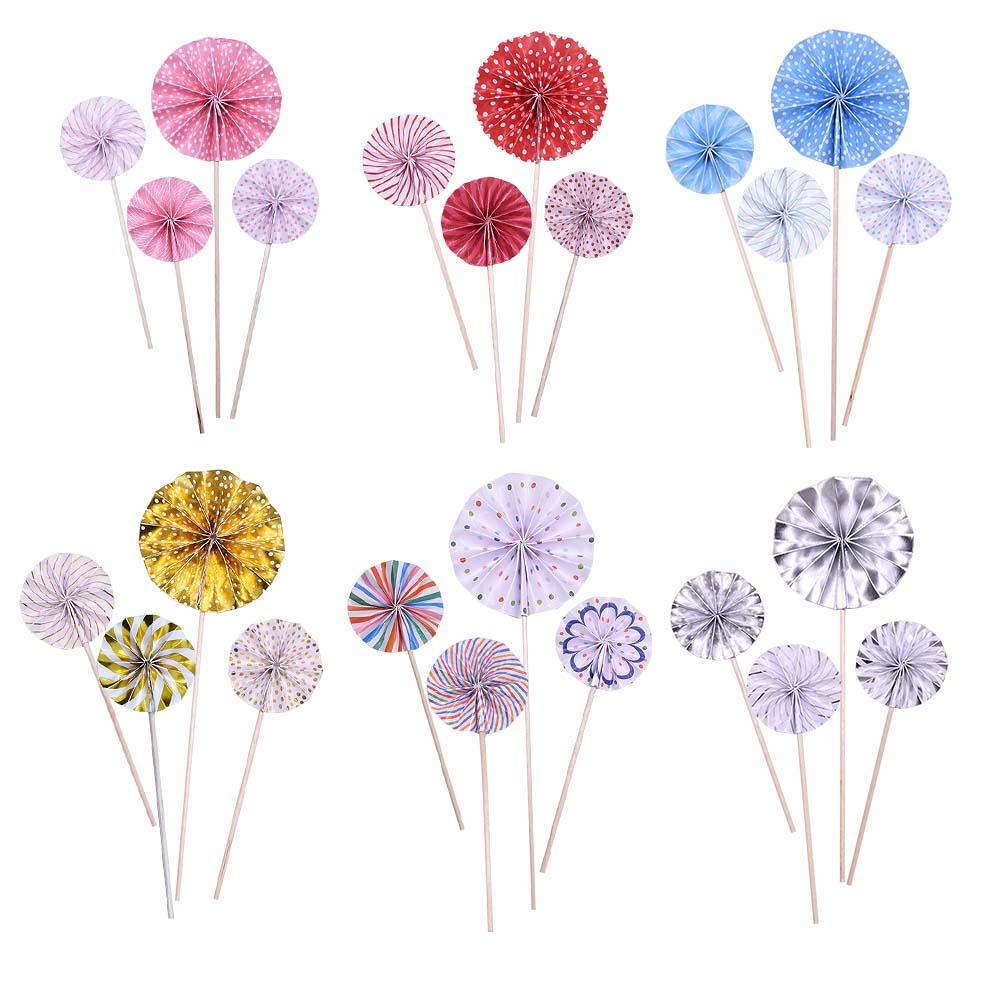 4pcs/set Cake Decorations Mini Paper Fan Cupcake Toppers for Kids Birthday Party Baby Shower Wedding Decoration Flags