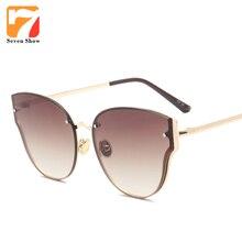 2017 Sin Montura gafas de Ojo de Gato gafas de Sol de Las Mujeres Diseñador de la Marca de Los Hombres de La Vendimia Gafas de Sol Para Mujer Espejo Shades Gafas De Sol UV400