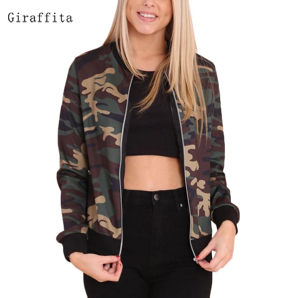 2017 Giraffita Fashion font b Women b font Loose Camouflage Coat Long Sleeve Zipper Outwear font