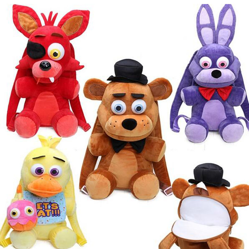 33cm FNAF Five Nights At Freddy's Plush Backpack Kids Schoolbag Freddy Fazbear Mangle Foxy Gloden Bear Cosplay Shoulder Bag
