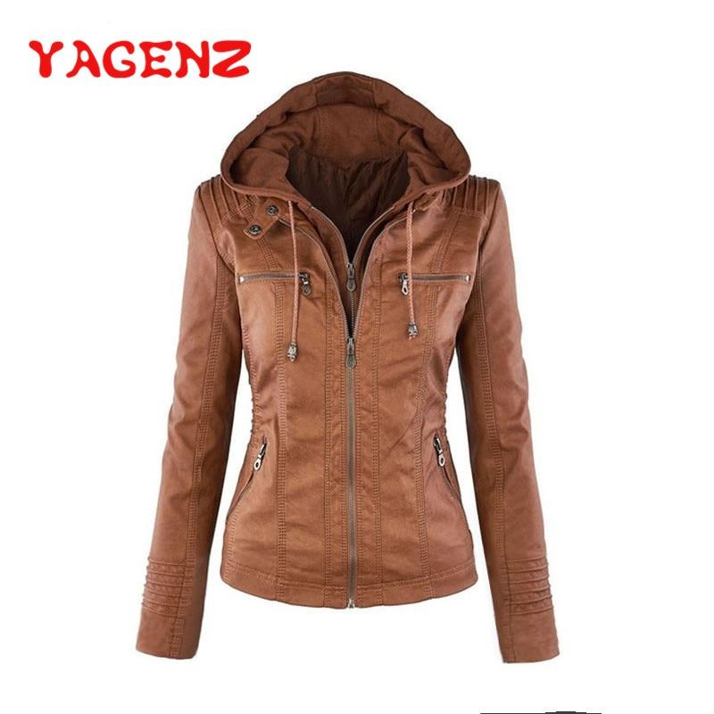 YAGENZ Spring   Leather   Jacket Women Black PU   Leather   Coat Basic coat Zippers Short Hooded Jackets Female Faux   Leather   Jackets 411