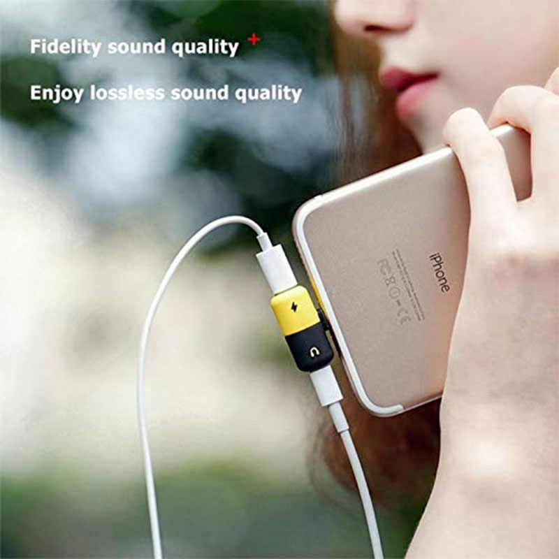 Hsmeilleur 8 Pin Dual Splitter Adapter Headphone Jack Adaptor For iPhone XS max XR X 8 8Plus 7 Plus Mini Audio Charge Adaptateur