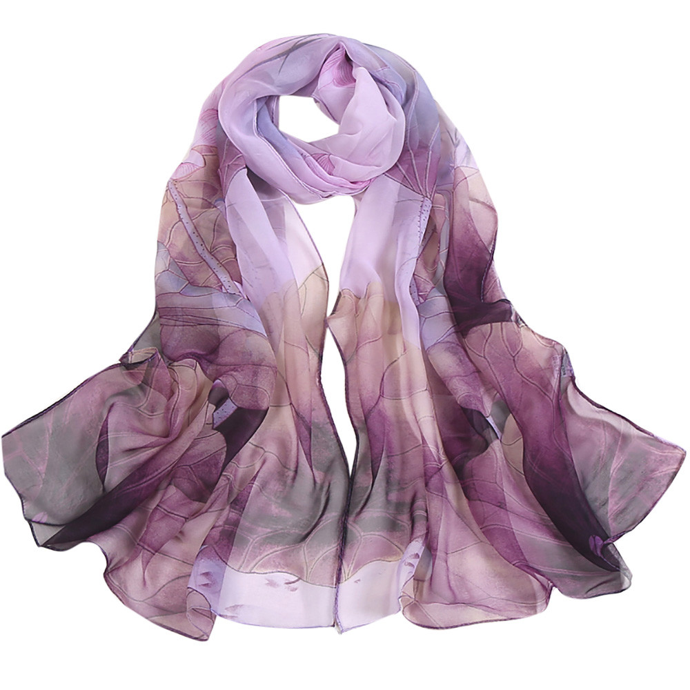 Purple Chiffon Scarf with magnetic clasp fastener BNWOT