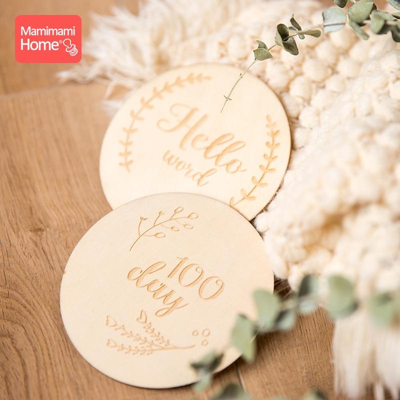 Mamihome 4pc Baby Wooden Teether Newborn Milestone Card Personalized Customization Grow Memorial Wooden Blank Children'S Goods