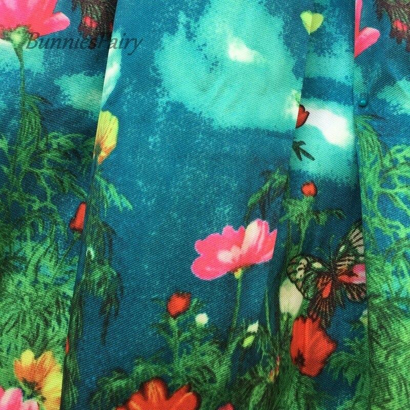 BunniesFairy 2018 Herbst Runway High Street Frauen Schmetterling Tier Blume Blumen Druck Hohe Taille Gefaltete Midi Rock Blau Saia