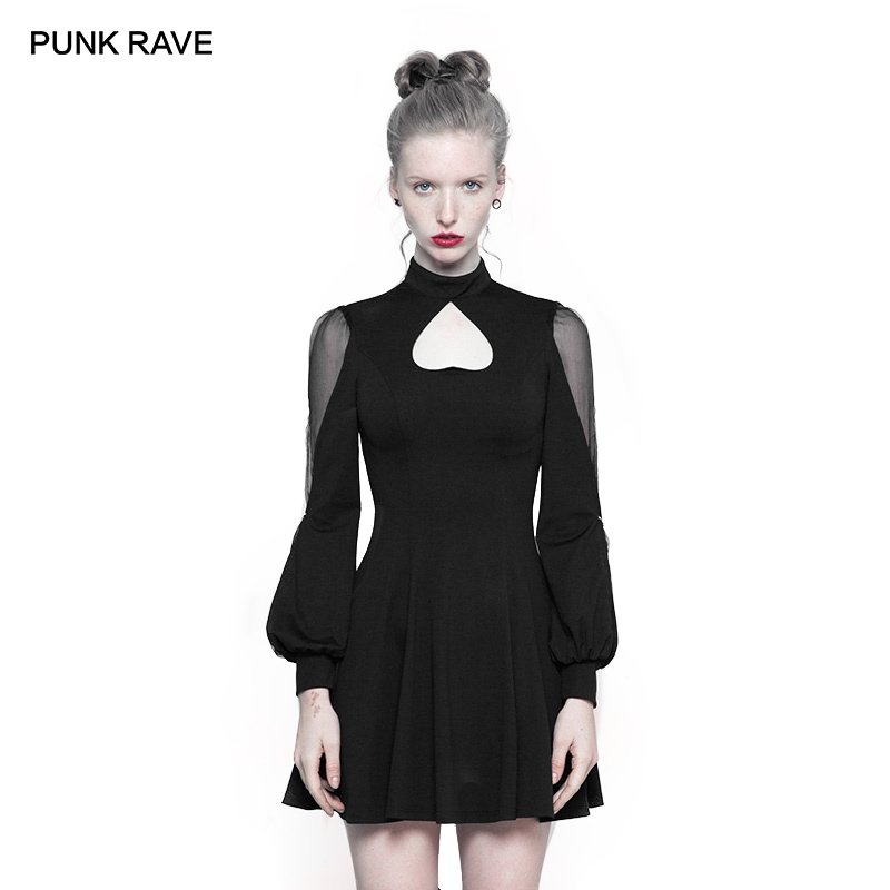 PUNK RAVE Gothic High Collar Women Inverted Peach Heart Black Sexy Mosaic Elastic Knitted Elegant Dress