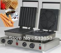 Ev Aletleri'ten Waffle Makineleri'de Paslanmaz çelik bar ve Kalp Şekli Waffle Makinesi Makinesi Baker  dayanıklı ve kullanışlı çift Kafa Elektrikli Churros makinesi