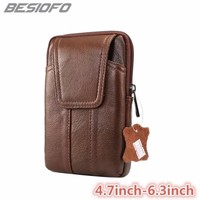 Belt Waist Holster Zipper Pouch Double Pockets Cover Genuine Leather Phone Case For Huawei Mate S Mate 7 8 9 Mate 10 Nova 2 3