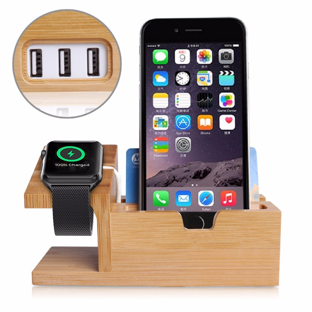 Bamboo Wood Holder Charging Station Desk Card Case Stand