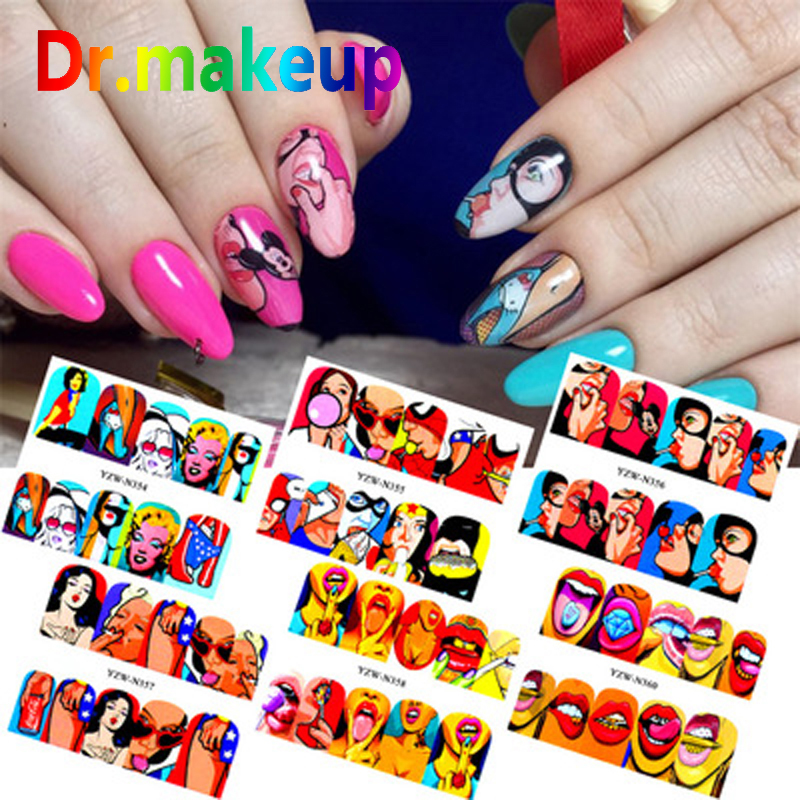 Dr.makeup 1 sheet DIY Marvel Nail Art Stickers <font><b>3D</b></font> Full Cover <font><b>Cartoon</b></font> Lip Gloss Water Transfer Sticker Manicure <font><b>Sexy</b></font> Cute Girl image