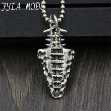FYLA MODE S925 Silver Jewelry Retro Vintage Silver Pendant Carved Stone Age Necklace Pendant Spearheads Personality 40*20MM