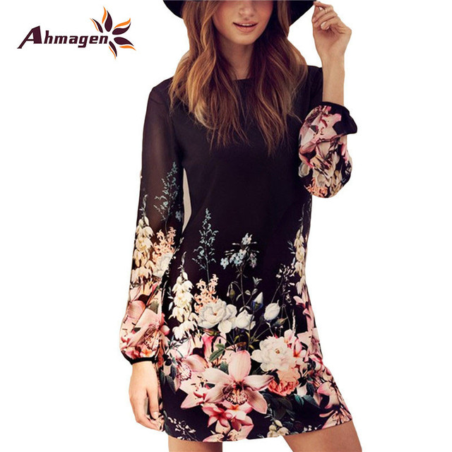94c5e4592c4d Women Spring Style 2017 Newest Shift Dresses Beautiful Black Long Sleeve  Floral Print Round Neck Chiffon Short Dress