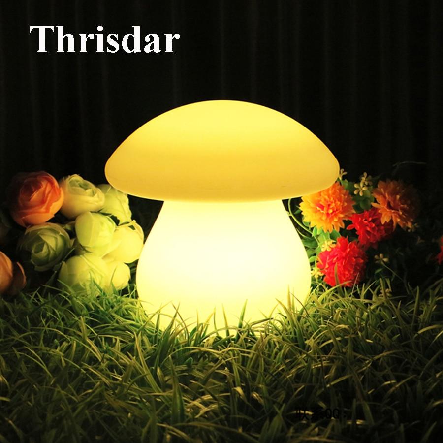 Thrisdar IP68 RGB Cartoon Mushroom LED Night Light Outdoor Garden Landscape Mushroom Light Wedding Party Chrimstmas Decoration pro svet light led mushroom