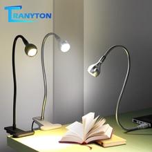USB כוח קליפ מחזיק LED ספר אור מנורת שולחן 1W הגמיש LED קריאת ספר מנורת מתג הפעלה/כיבוי שולחן מנורת חדר שינה מחקר חדר