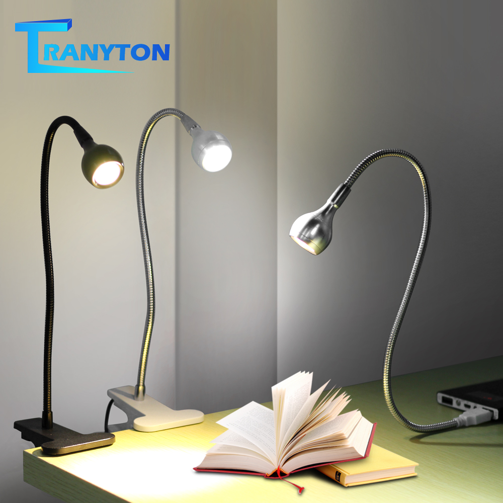 USB Power Clip Holder LED Book Light Desk Lamp 1W Flexible LED Reading Book Lamp Switch On/Off Table Lamp For Bedroom Study Room